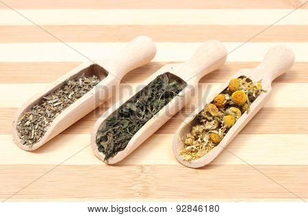 Dried Camomile, Nettle And Sage On Wooden Spoons