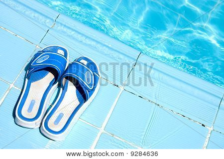 Pretty Flip Flops By The Swimming Pool
