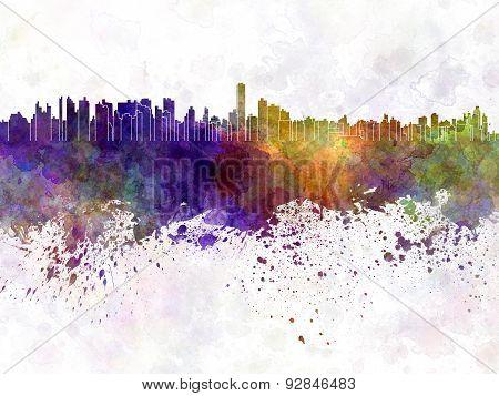 Asuncion Skyline In Watercolor Background