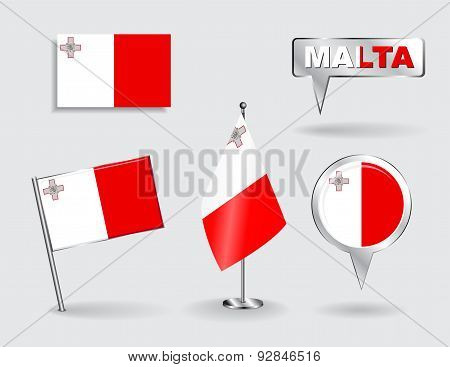 Set of Maltese pin, icon and map pointer flags. Vector
