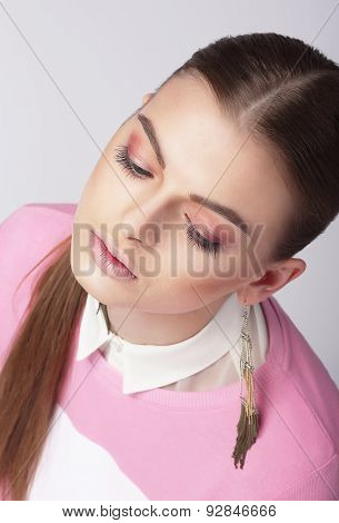 Dreamy Young Girl With Closed Eyes