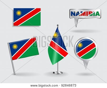 Set of Namibian pin, icon and map pointer flags. Vector