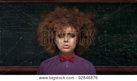 Metaphor. Ridiculous And Exhausted Professor Over Blackboard