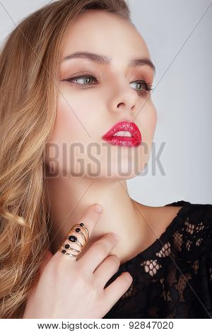 Young Woman With Red Lips Looking Away