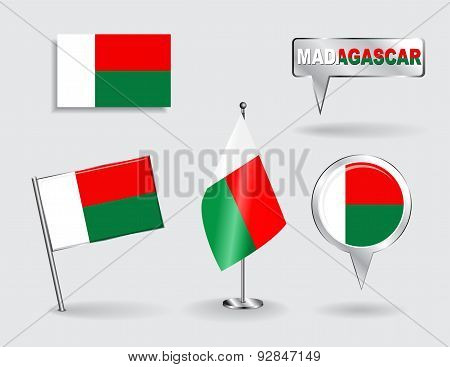 Set of Madagascar pin, icon and map pointer flags. Vector