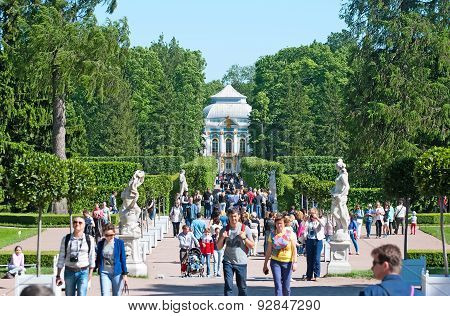 Tsarskoye Selo (Pushkin), Saint-Petersburg, Russia. Tourists in the Catherine Park