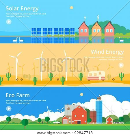Colorful vector flat banner set. Quality design illustrations, elements and concept - Solar energy, Wind energy, Eco farm