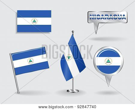 Set of Nicaraguan pin, icon and map pointer flags. Vector