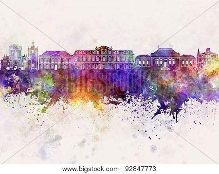 Le Havre Skyline In Watercolor Background