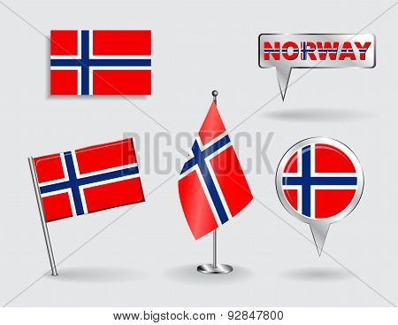 Set of PNorwegian pin, icon and map pointer flags. Vector