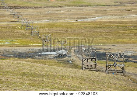 View to the abandoned arctic coal mine equipment in Longyearbyen, Norway.