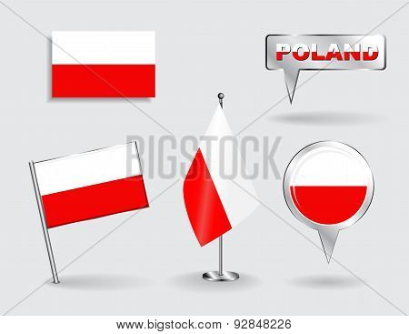 Set of Polish pin, icon and map pointer flags. Vector