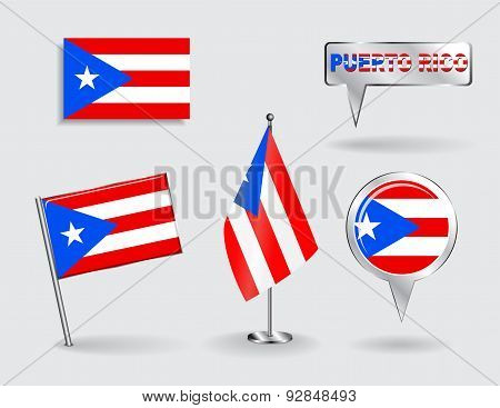 Set of Puerto-Rican pin, icon and map pointer flags. Vector