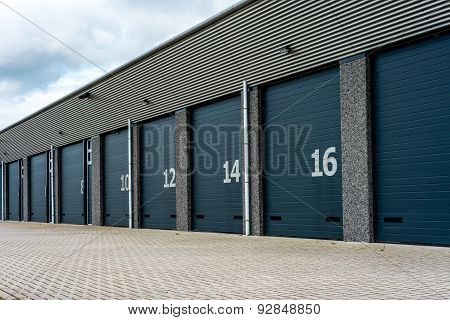 Unit Storage Warehouse Facility With Numberd Doors