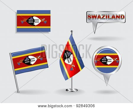 Set of Swaziland pin, icon and map pointer flags. Vector