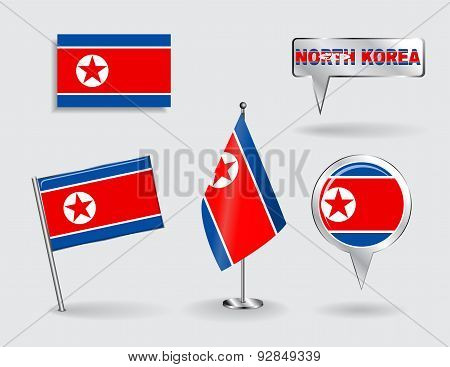 Set of North Korean pin, icon and map pointer flags. Vector