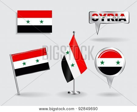 Set of Syrian pin, icon and map pointer flags. Vector