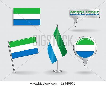 Set of Sierra Leone pin, icon and map pointer flags. Vector