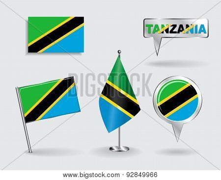 Set of Tanzanian pin, icon and map pointer flags. Vector