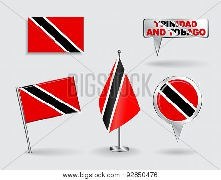 Set of Trinidad and Tobago pin, icon, map pointer flags. Vector
