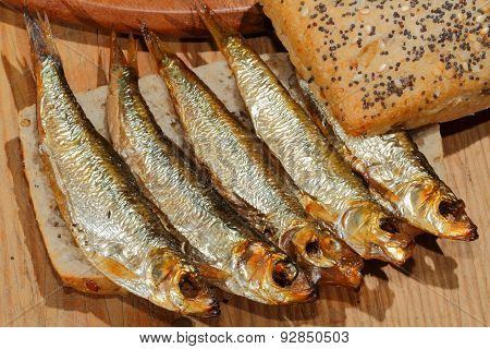 Sprats, Smoked, Salad, Lemon, Onions, Whole Wheat Bread