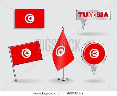 Set of Tunisian pin, icon and map pointer flags. Vector