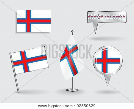 Set of Faroe Islands pin, icon and map pointer flags. Vector