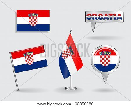 Set of Croatian pin, icon and map pointer flags. Vector