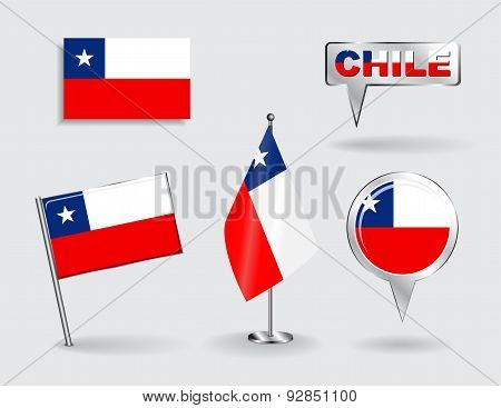 Set of Chilean pin, icon and map pointer flags. Vector