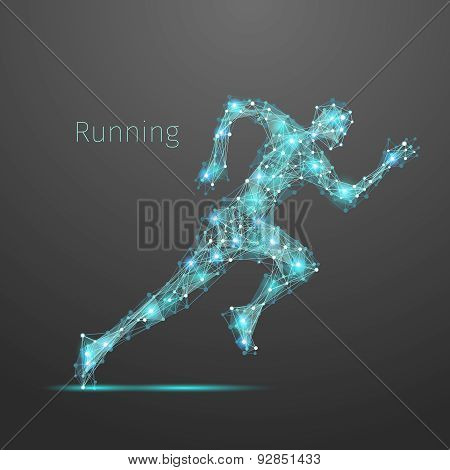 Polygonal running man