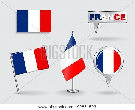 Set of French pin, icon and map pointer flags. Vector