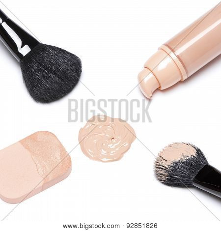 Foundation With Makeup Brushes And Cosmetic Sponge
