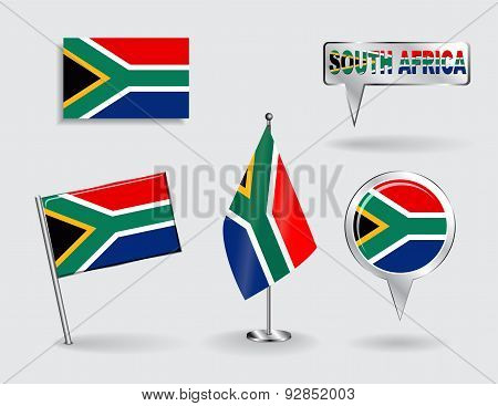 Set of South African pin, icon and map pointer flags. Vector