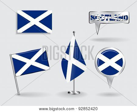 Set of Scottish pin, icon and map pointer flags. Vector