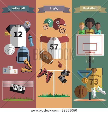 Team sport vertical banners set