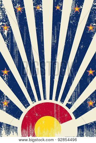 Colorado vintage sunbeams. A vintage colorado poster with sunbeams and a a texture for your advertising
