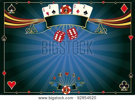 Horizontal blue Casino. A casino horizontal background for your pad or your screen