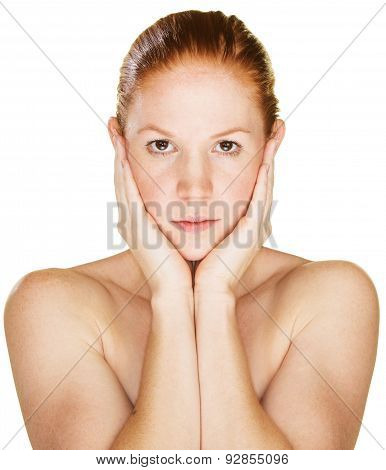 Serious Woman Holding Face