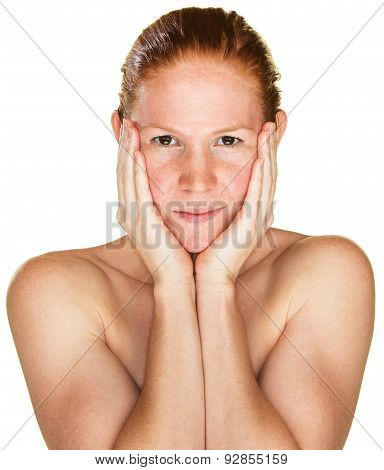 Sultry Woman Holding Face