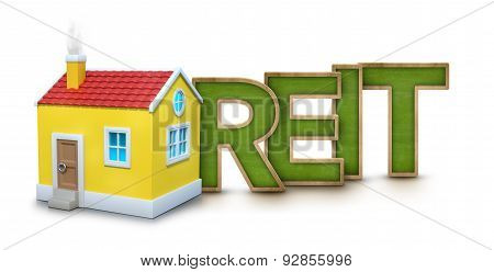 REIT text with 3d house