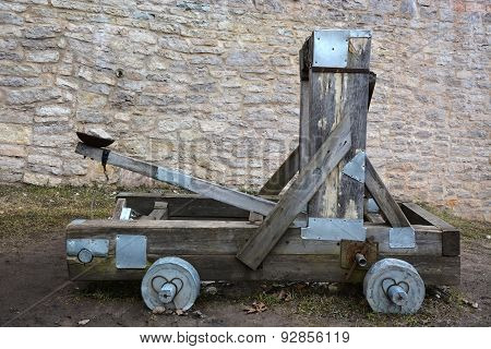 Wooden Catapult At The Ancient Russia Izborsk Fortress