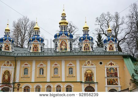 Blue Chapels Of The Church Of The Pskov-caves Monastery, A Russian Orthodox Male Monastery, Located