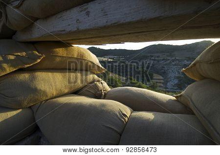 Orwell  trench used in the Spanish civil war, Saragossa, Aragon, Spain.