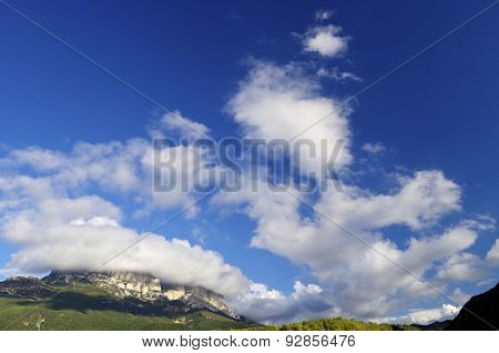 Montanesa peak in Ferrera Mountains, Pyrenees, Huesca, Aragon, Spain.