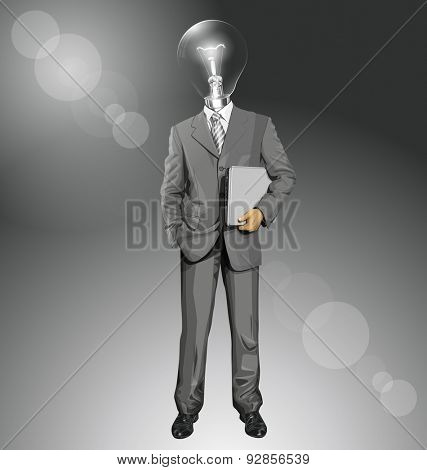 Vector lamp head business man in suit with laptop in his hands