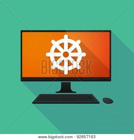 Personal Computer With A Dharma Chakra Sign