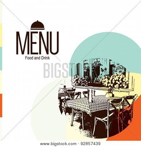 Retro restaurant menu design. With a sketch picture