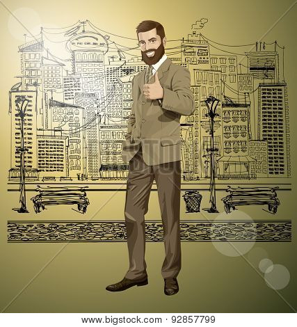 Vector hipster business man with beard shows well done on the sketch street