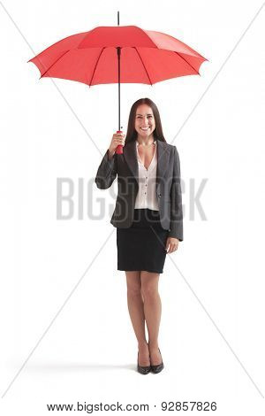 full-length portrait of smiley businesswoman under red umbrella. isolated on white background