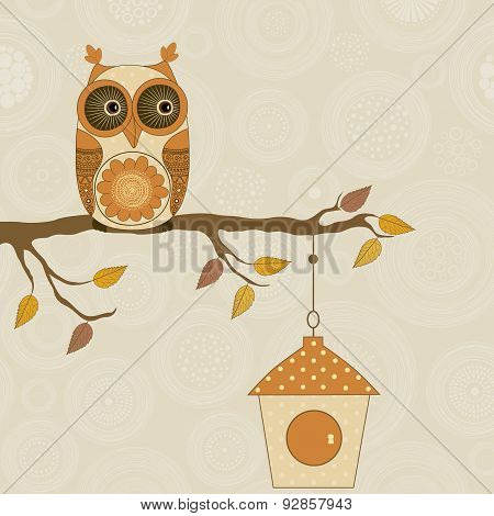 Cute Stylized Owl On Branch